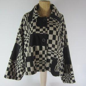 "Neslay Plus 2X Black Check Wool Blend Jacket 52"""